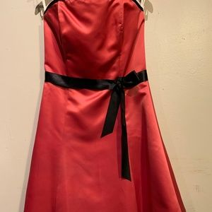 Coral strapless fit and flair formal dress